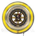 Holland Bar Stool NHL 15'' Double Neon Ring Logo Wall Clock; Boston Bruins