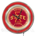 Holland Bar Stool NCAA 15'' Double Neon Ring Logo Wall Clock; Iowa State