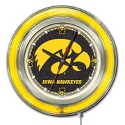 Holland Bar Stool NCAA 15'' Double Neon Ring Logo Wall Clock; Iowa