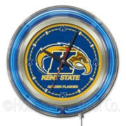 Holland Bar Stool NCAA 15'' Double Neon Ring Logo Wall Clock; Kent State