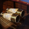 Old Modern Handicrafts Binocular with Mother of Pearl Overlay in Wood Box