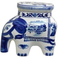 Oriental Furniture Landscape Elephant Stool