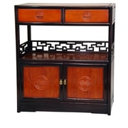 Oriental Furniture Long Life Display 2 Drawer Cabinet; Honey and Cherry
