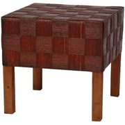 Oriental Furniture Woven Fiber Stool; Mahogany