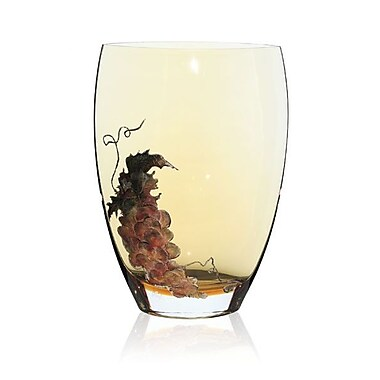 Womar Glass Gold Grapes Vase; 12'' H x 8'' W x 5'' D