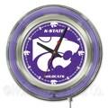 Holland Bar Stool NCAA 15'' Double Neon Ring Logo Wall Clock; Kansas State