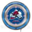 Holland Bar Stool NHL 15'' Double Neon Ring Logo Wall Clock; Colorado Avalanche