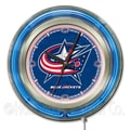 Holland Bar Stool NHL 15'' Double Neon Ring Logo Wall Clock; Columbus Blue Jackets