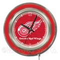Holland Bar Stool NHL 15'' Double Neon Ring Logo Wall Clock; Detroit Red Wings