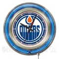 Holland Bar Stool NHL 15'' Double Neon Ring Logo Wall Clock; Edmonton Oilers