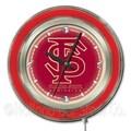 Holland Bar Stool NCAA 15'' Double Neon Ring Logo Wall Clock; Florida State-Script
