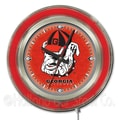 Holland Bar Stool NCAA 15'' Double Neon Ring Logo Wall Clock; Georgia ''Bulldog''
