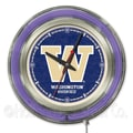 Holland Bar Stool NCAA 15'' Double Neon Ring Logo Wall Clock; Washington