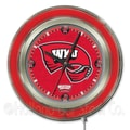 Holland Bar Stool NCAA 15'' Double Neon Ring Logo Wall Clock; Western Kentucky