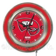Holland Bar Stool NCAA 15'' Double Neon Ring Logo Wall Clock; Western Kentucky