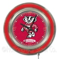 Holland Bar Stool NCAA 15'' Double Neon Ring Logo Wall Clock; Wisconsin ''Badger''