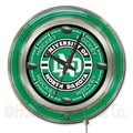 Holland Bar Stool NCAA 15'' Double Neon Ring Logo Wall Clock; North Dakota Hockey