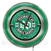 Holland Bar Stool NCAA 15'' Double Neon Ring Logo Wall Clock; North Dakota Hockey