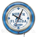 Holland Bar Stool NCAA 15'' Double Neon Ring Logo Wall Clock; North Florida