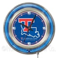 Holland Bar Stool NCAA 15'' Double Neon Ring Logo Wall Clock; Louisiana Tech