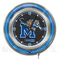 Holland Bar Stool NCAA 15'' Double Neon Ring Logo Wall Clock; Memphis
