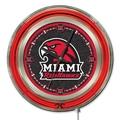 Holland Bar Stool NCAA 15'' Double Neon Ring Logo Wall Clock; Miami of Ohio