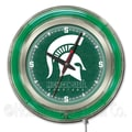 Holland Bar Stool NCAA 15'' Double Neon Ring Logo Wall Clock; Michigan State