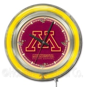 Holland Bar Stool NCAA 15'' Double Neon Ring Logo Wall Clock; Minnesota