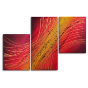 My Art Outlet Spirograph in Gold 3 Piece Painting Print on Canvas Set