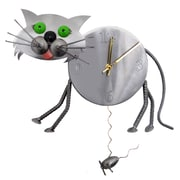 H & K SCULPTURES Cat Pendulum Clock