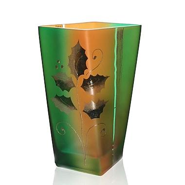 Womar Glass Holiday Square Vase; 9.5'' H x 6.75'' W x 3.5'' D