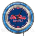 Holland Bar Stool NCAA 15'' Double Neon Ring Logo Wall Clock; Mississippi