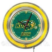 Holland Bar Stool NCAA 15'' Double Neon Ring Logo Wall Clock; North Dakota State