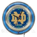 Holland Bar Stool NCAA 15'' Double Neon Ring Logo Wall Clock; Notre Dame