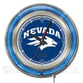 Holland Bar Stool NCAA 15'' Double Neon Ring Logo Wall Clock; Nevada