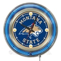 Holland Bar Stool NCAA 15'' Double Neon Ring Logo Wall Clock; Montana State