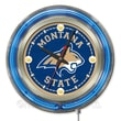 Holland Bar Stool NCAA 15'' Double Neon Ring Logo Wall Clock; Montana State