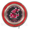 Holland Bar Stool NCAA 15'' Double Neon Ring Logo Wall Clock; Washington State
