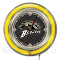 Holland Bar Stool NCAA 15'' Double Neon Ring Logo Wall Clock; Western Michigan