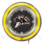 Holland Bar Stool NCAA 15'' Double Neon Ring Logo Wall Clock; Western Michigan