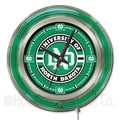 Holland Bar Stool NCAA 15'' Double Neon Ring Logo Wall Clock; North Dakota
