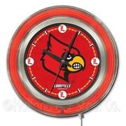 Holland Bar Stool NCAA 15'' Double Neon Ring Logo Wall Clock; Louisville
