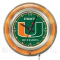 Holland Bar Stool NCAA 15'' Double Neon Ring Logo Wall Clock; Miami