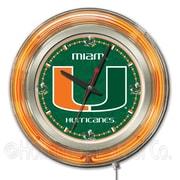 Holland Bar Stool NCAA 15'' Double Neon Ring Logo Wall Clock; Miami