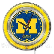 Holland Bar Stool NCAA 15'' Double Neon Ring Logo Wall Clock; Michigan