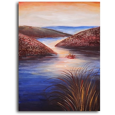 My Art Outlet 'Raindrops on Estuary' Original Painting on Wrapped Canvas
