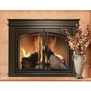 Pleasant Hearth Fenwick Cabinet Style Fireplace Screen & Arch Prairie Smoked Glass Door; Medium
