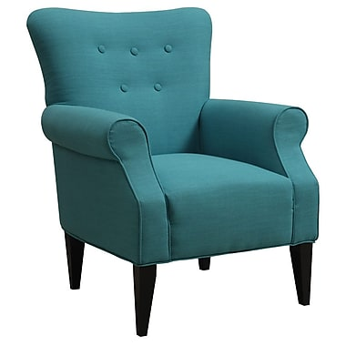 Emerald Home Furnishings Lydia Neon Button Back Arm Chair; Mallard Teal