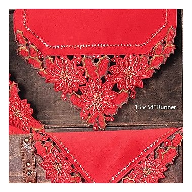 Xia Home Fashions Holiday Spirit Embroidered Cutwork Holiday Table Runner; 48'' W x 12'' L