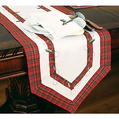 Xia Home Fashions Tartan Ribbon Embroidered Holiday Table Runner; 54'' W x 15'' L